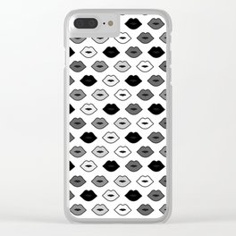 Chessboard Lips - Black and White Clear iPhone Case