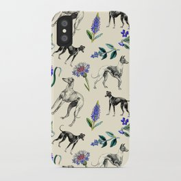 GREYHOUND DOGS & PRESSED FLOWERS iPhone Case