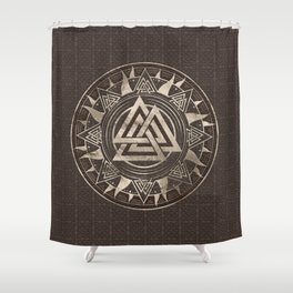 Valknut Symbol  - Brown Leather and gold Shower Curtain
