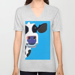 Cow in the Blue Sky Unisex V-Neck