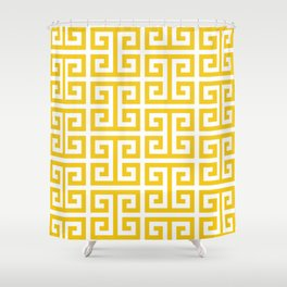 Large Gold and White Greek Key Pattern Shower Curtain