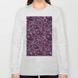 Magenta Purple Paisley Pattern Long Sleeve T-shirt