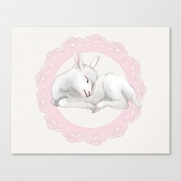 Sleeping Lamb in Pink Lace Wreath Canvas Print