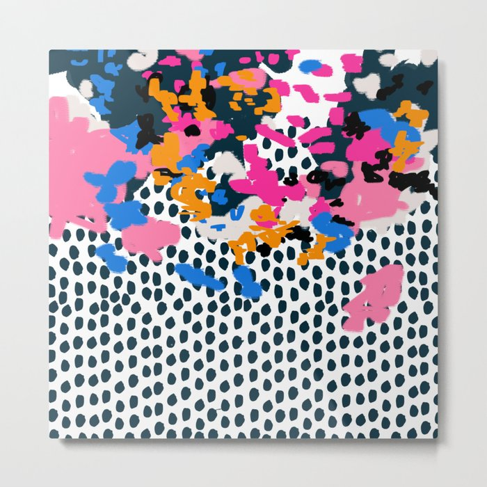 Kenzi - abstract painting minimal hot pink blue dots color palette boho hipster decor nursery Metal Print