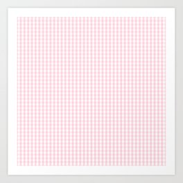 Mini Soft Pastel Pink and White Gingham Check Plaid Art Print