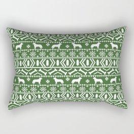 Australian Cattle Dog christmas fair isle pattern pet portrait holiday designs for dog lover Rectangular Pillow
