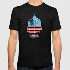 London, England Tri-Black LARGE Mens Fitted Tee