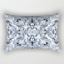 Indigo, Navy Blue and White Calligraphy Doodle Pattern Rectangular Pillow