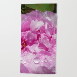 Pink Peony with Rain Drops Beach Towel