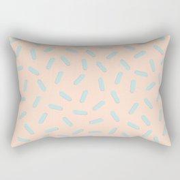 Memphis Bacteria Pattern Pastel Colors Peach Baby Blue Rectangular Pillow