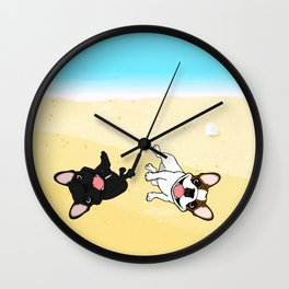 Frenchies Rolling In The Sand Wall Clock