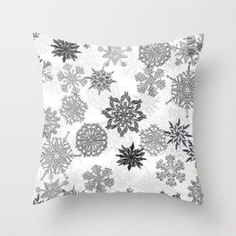Snowflake Pattern (White) Throw Pillow