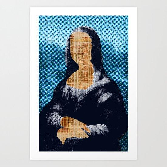 Mona Lisa · blue print Art Print