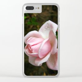 Blooming Light Pink Rose with Water Drops Clear iPhone Case