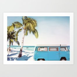 Retro Van on Beach Art Print