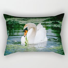 A White Swan Eating Grass In the Water Rectangular Pillow