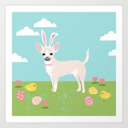 Chihuahua dog breed easter bunny dog costume pet portrait spring chihuahuas cream coat Art Print
