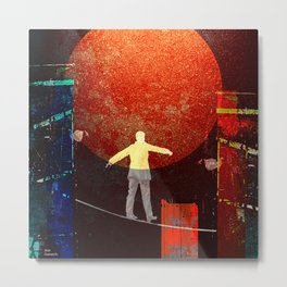 Tightrope walker in the city Metal Print