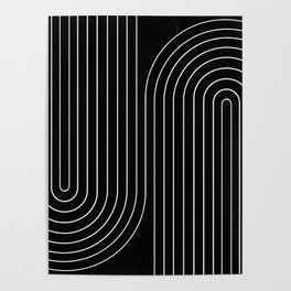Minimal Line Curvature - Black and White II Poster