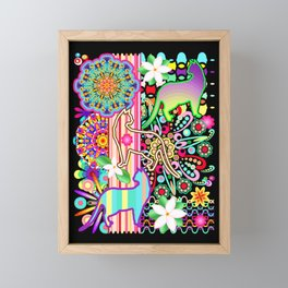 Mandalas, Cats & Flowers Fantasy Pattern Framed Mini Art Print