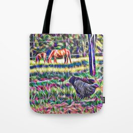 horses and hens in a field Tote Bag