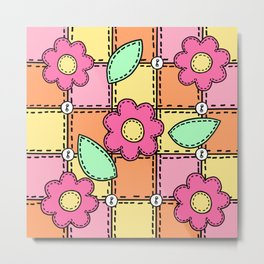 Retro Doodle Flower Style Quilt - Pink Yellow Orange Metal Print