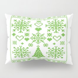 Christmas Cross Stitch Embroidery Sampler Green And White Pillow Sham