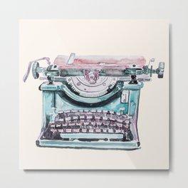 Vintage Typewriter Watercolor III Metal Print