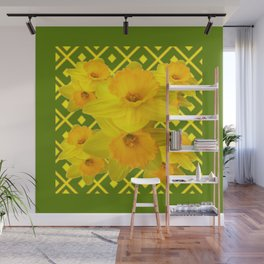 Moss Green Yellow Spring Daffodils Art Wall Mural