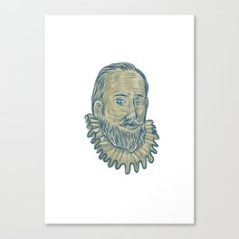 Sir Walter Raleigh Bust Drawing Canvas Print