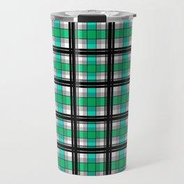 Plaid tartan green Travel Mug