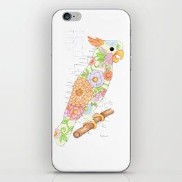 Floral Cockatiel iPhone Skin