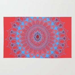 Summer Mandala Blue and Pink Rose Rug