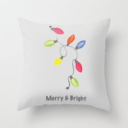 Merry & Bright Christmas lights on graphite gray Throw Pillow