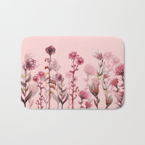 For Her ! Pink Flowers Bath Mat