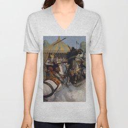 Knights jousting Unisex V-Neck