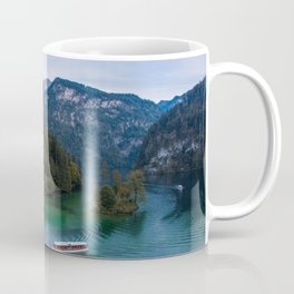 königssee waterfall alps bayern forrest drone aerial shot nature wanderlust boat mountains Coffee Mug