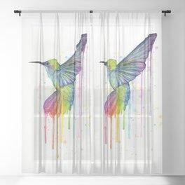 Hummingbird Rainbow Watercolor Sheer Curtain