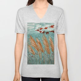 Geese Flying over Pampas Grass Unisex V-Neck