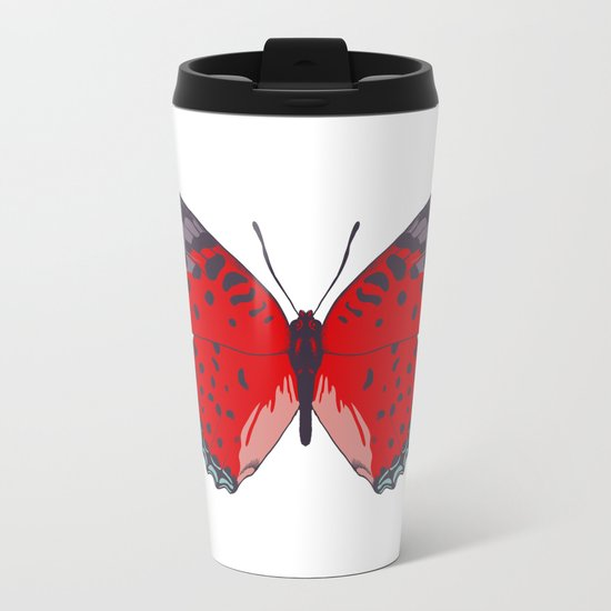 Red Butterfly Metal Travel Mug