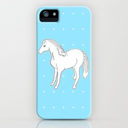 White Horse with Light Blue & Polka Dots iPhone Case