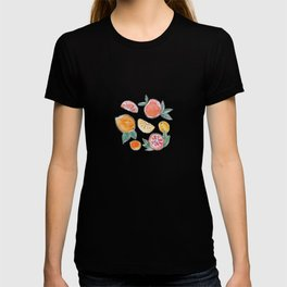 Citrus slices party in my garden_Pink & Teal Green watercolour & ink T-shirt