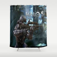 guardians Shower Curtains featuring Halo5 Guardians by giftstore2u