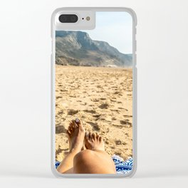 Vacation Time, Woman Relaxing On Beach, Beautiful Woman, Travel Photo, Ocean Beach In Portugal Clear iPhone Case