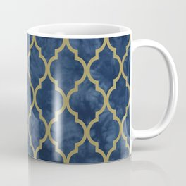 Classic Quatrefoil Lattice Pattern 428 Blue and Gold Coffee Mug