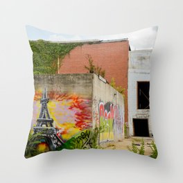 Eiffel Tower Grafitti Throw Pillow