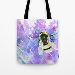 Bumblebee and Lavender Flowers Herbal Bee Honey Purple Floral design Tote Bag