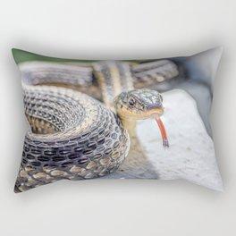 Garter snake with its tongue out Rectangular Pillow