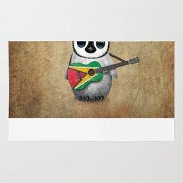Baby Penguin Playing Guyanese Flag Acoustic Guitar Rug
