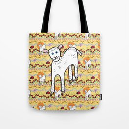 © Little Lamb with ladybugs pattern Tote Bag